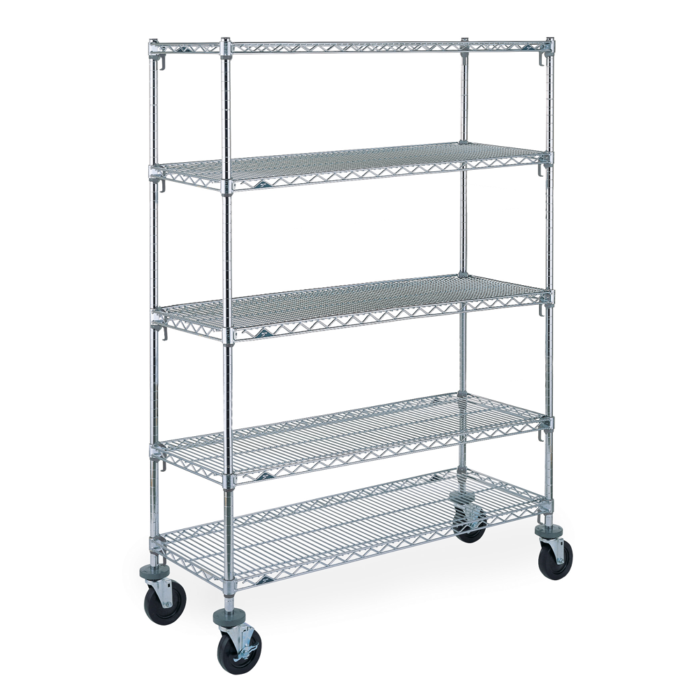 Super Erecta Super Adjustable 5 Shelf Mobile Wire Shelving Unit, 79″H (Chrome)