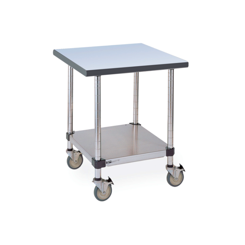 Mobile Gray Phenolic Top Table With Stainless Lower Shelf