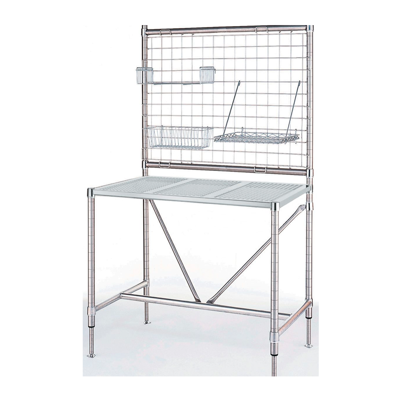 Stainless Steel HD Perf Top Table With Overhead