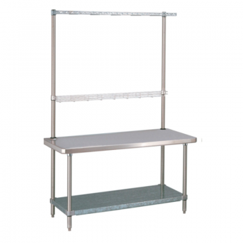 HD Super Stationary Table With Overhead And Solid Bottom Shelf (Stainless Steel)