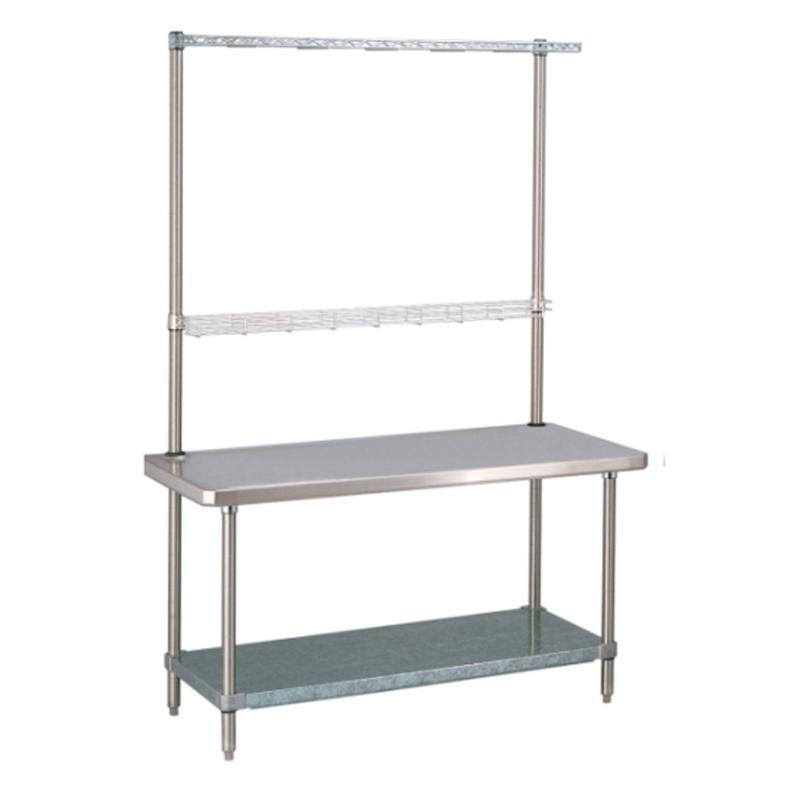 HD Super Stationary Table With Overhead And Solid Bottom Shelf (Chrome/ Bottom Shelf Glvanized)