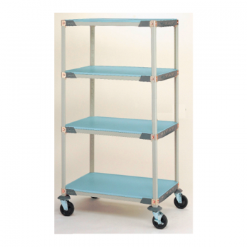 MetroMax I 4 Shelf Mobile Solid Shelving Unit, 79″H