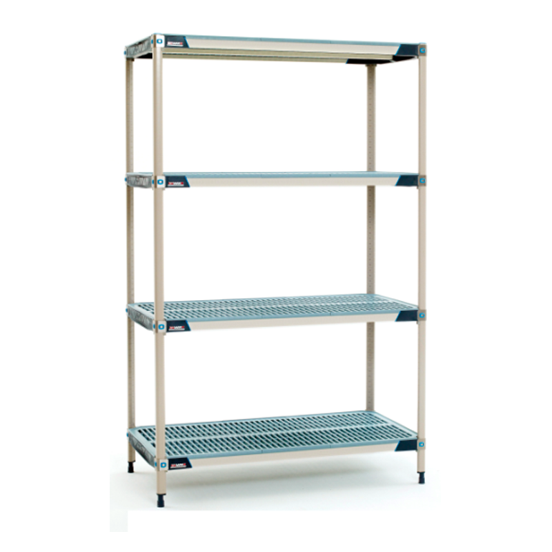 MetroMax I 4 Shelf Stationary Open Grid Shelving Unit, 74″H