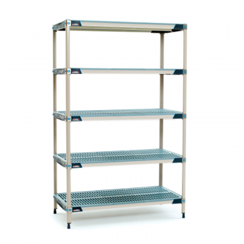 MetroMax I 5 Shelf Stationary Open Grid Shelving Unit, 63″H