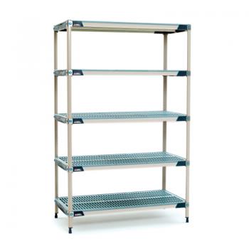 MetroMax I 5 Shelf Stationary Open Grid Shelving Unit, 63″H