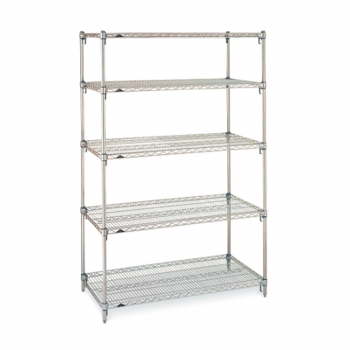 Super Erecta Super Adjustable 5 Shelf Stationary Wire Shelving Unit, 63″H (Stainless Steel)