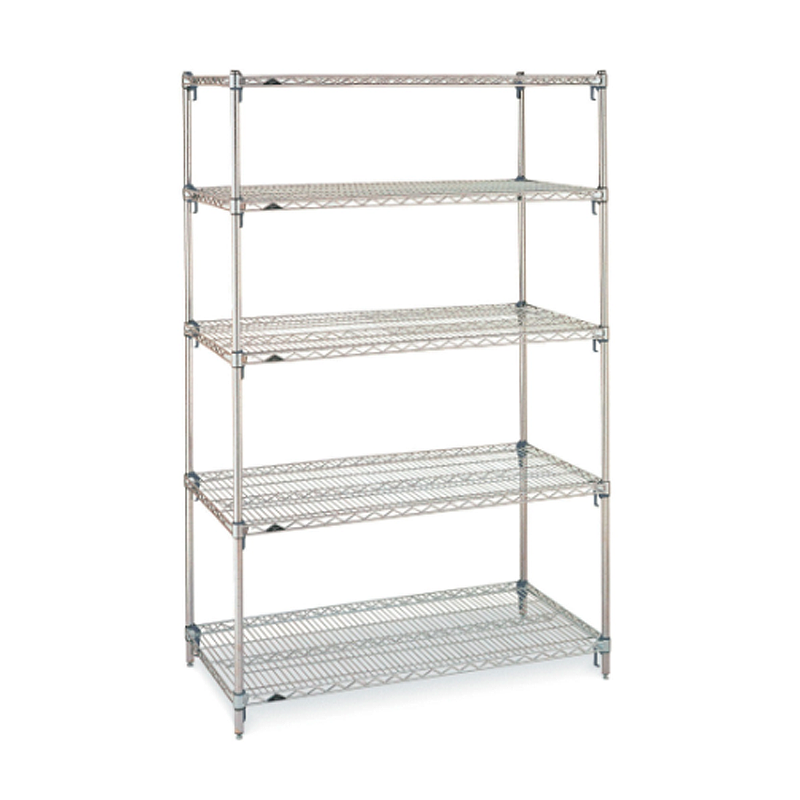 Super Erecta Super Adjustable 5 Shelf Stationary Wire Shelving Unit, 74″H (Stainless Steel)