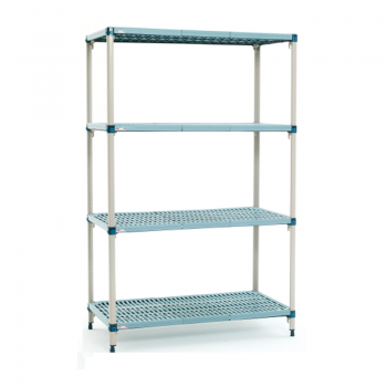 MetroMax Q 4 Shelf Stationary Open Grid Shelving Unit, 63″H