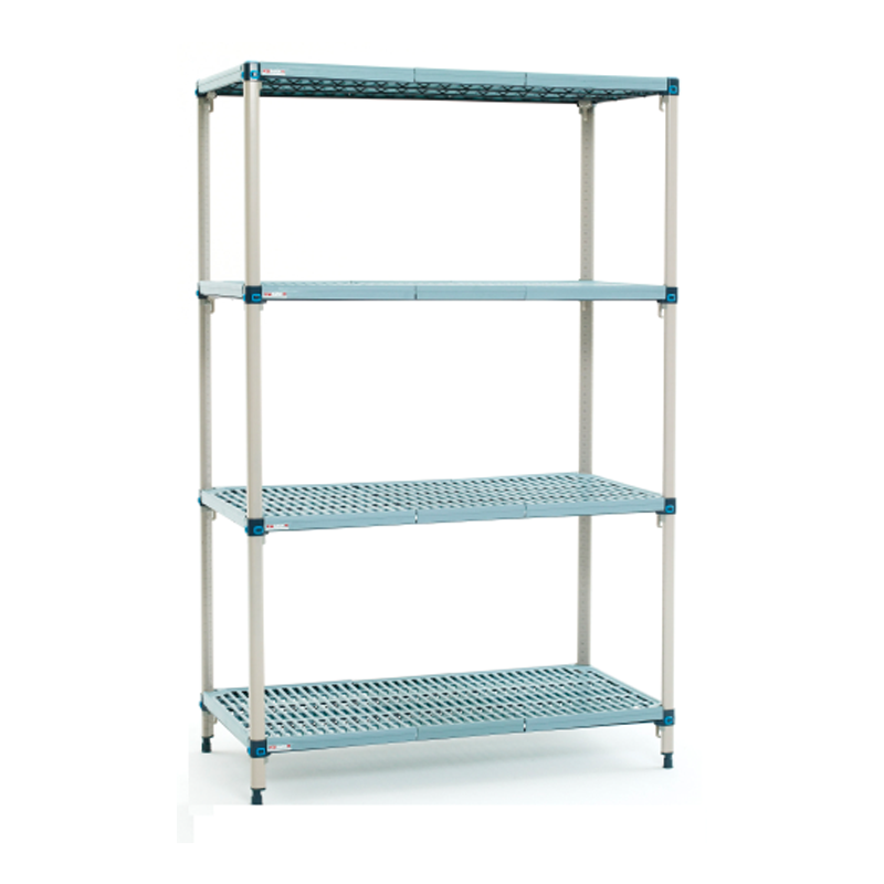 MetroMax Q 4 Shelf Stationary Open Grid Shelving Unit, 74″H