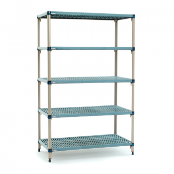 MetroMax Q 5 Shelf Stationary Open Grid Shelving Unit, 74″H