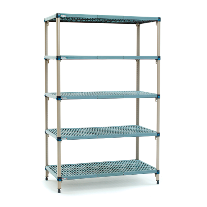 MetroMax Q 5 Shelf Stationary Open Grid Shelving Unit, 63″H