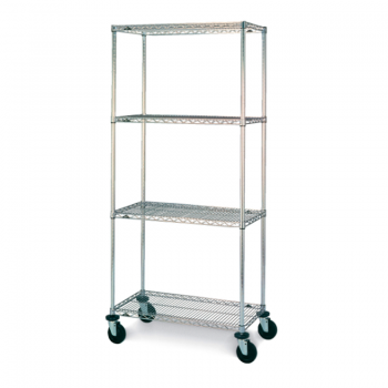 Super Erecta 4 Shelf Mobile Wire Shelving Unit, 79″H (Stainless Steel)