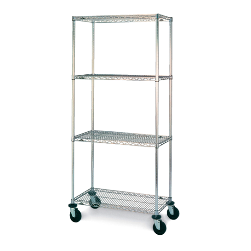 Super Erecta 4 Shelf Mobile Wire Shelving Unit, 79″H (Chrome)