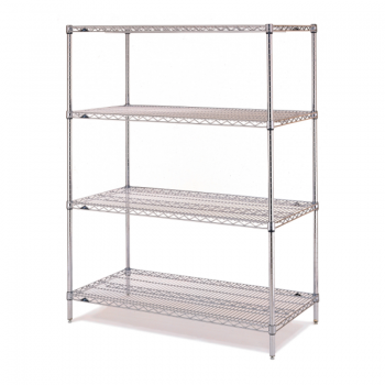 Super Erecta 4 Shelf Stationary Wire Shelving Unit, 74″H (Stainless Steel)