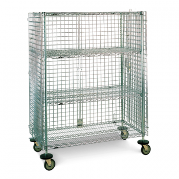 Super Erecta Mobile 2 Tier Wire Security Cage With 4 Casters Without Brakes (Chrome)