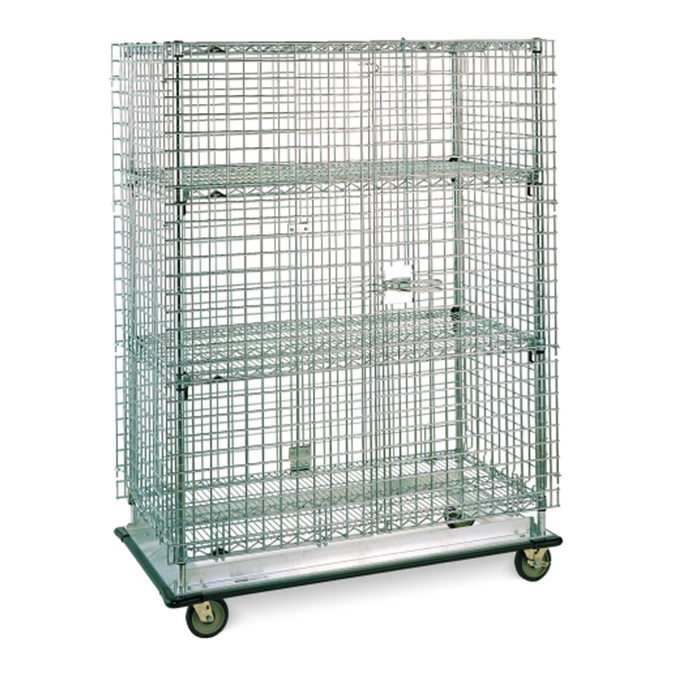 Super Erecta Mobile Heavy Duty 2 Tier Wire Security Cage With 4 Casters Without Brakes (Chrome)