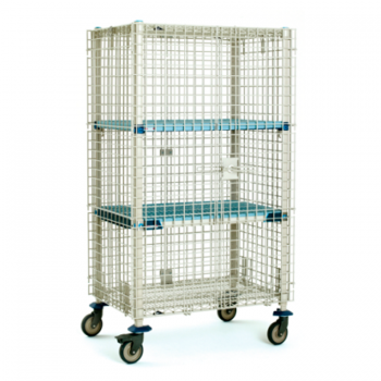 MetroMax Q Mobile 2 Tier Open Grid Security Cage With Polymer Casters