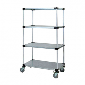 Heavy Duty 4 Tier Mobile Solid Shelving Unit, 68″H (Flat Stainless Steel)