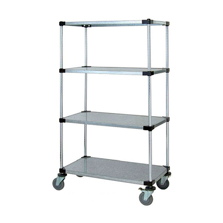 Heavy Duty 4 Tier Mobile Solid Shelving Unit, 68″H (Flat Galvanized)