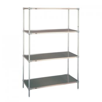 Heavy Duty 4 Tier Stationary Solid Shelving Unit, 74″H (Flat Stainless Steel)