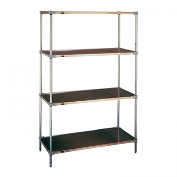Super Erecta 4 Shelf Stationary Solid Shelving Unit, 63″H (Stainless Steel)