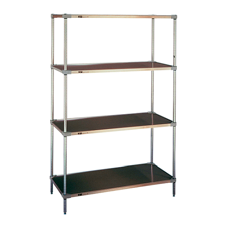 Super Erecta 4 Shelf Stationary Solid Shelving Unit, 63″H (Flat Galvanized)