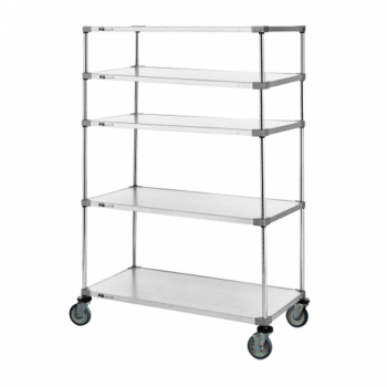 Heavy Duty 5 Tier Mobile Solid Shelving Unit, 68″H (Flat Stainless Steel)
