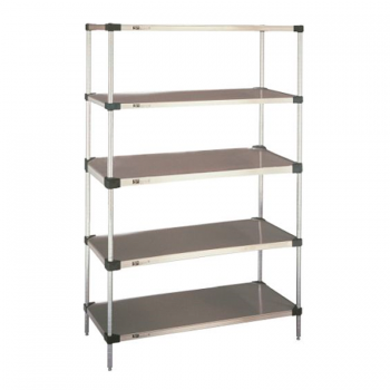 Heavy Duty 5 Tier Stationary Solid Shelving Unit, 74″H (Flat Stainless Steel)