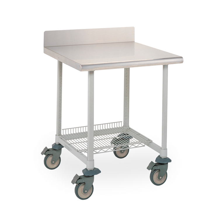 Mobile Stainless Steel Lab Table With Back Splash And U Frame