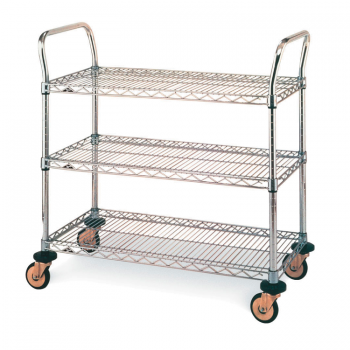 MW Series 3 Tier Wire Shelves Utility Cart