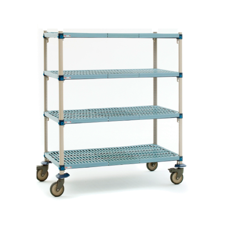 MetroMax Q 4 Shelf Mobile Open Grid Shelving Unit, 68″H