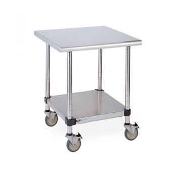 Mobile Stainless Steel Lab Table With Back Splash And Solid Lower Shelf