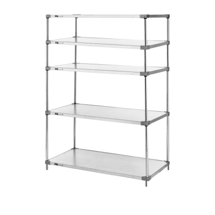Heavy Duty 5 Tier Stationary Solid Shelving Unit, 63″H (Flat Stainless Steel)