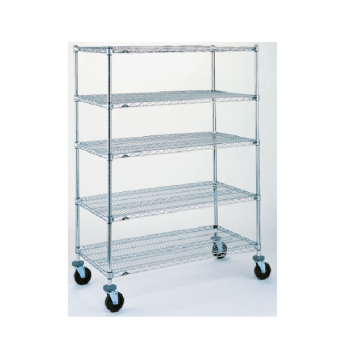 Super Erecta 5 Shelf Mobile Wire Shelving Unit, 68″H (Stainless Steel)