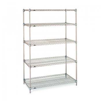 Super Erecta 5 Shelf Stationary Wire Shelving Unit, 74″H (Metroseal 3)