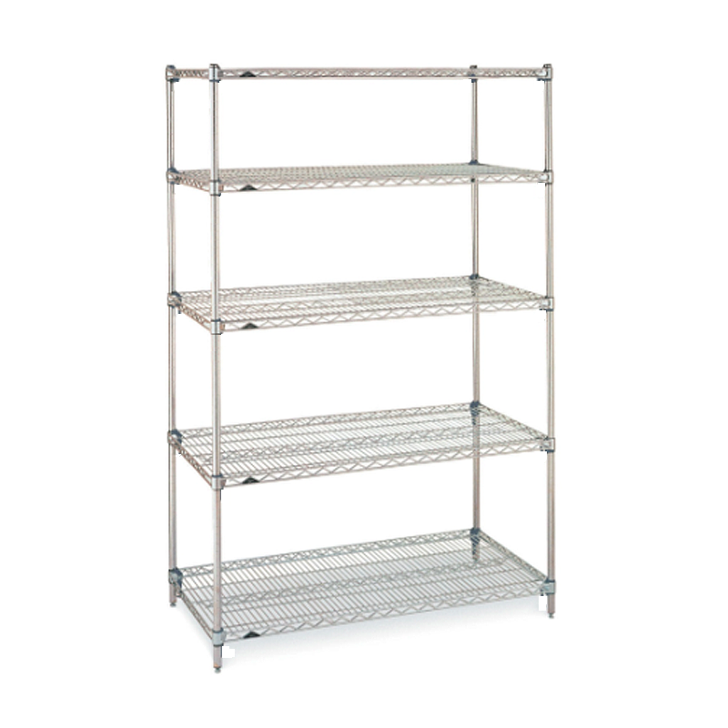 Super Erecta 5 Shelf Stationary Wire Shelving Unit, 74″H (Stainless Steel)