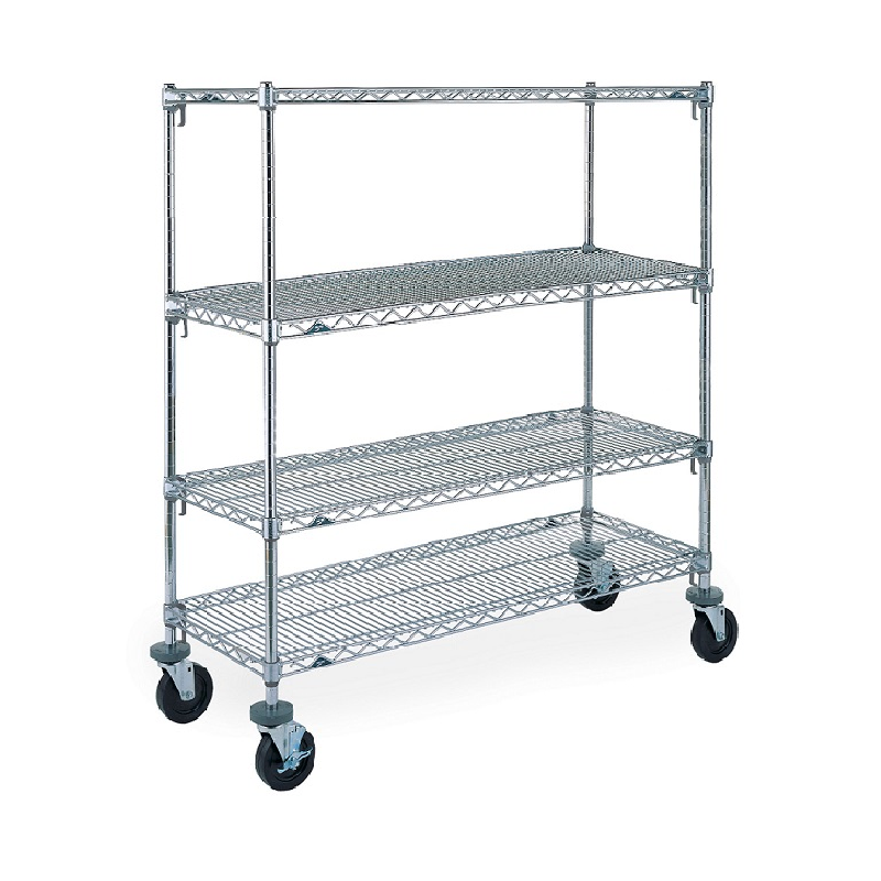 Super Erecta Super Adjustable 4 Shelf Mobile Wire Shelving Unit, 68″H (Chrome)