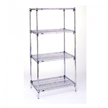 Super Erecta Super Adjustable 4 Shelf Stationary Wire Shelving Unit, 74″H (Stainless Steel)