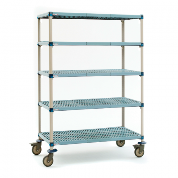 MetroMax I 5 Shelf Mobile Open Grid Shelving Unit, 79″H