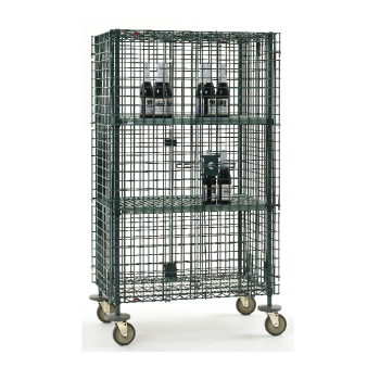 Super Erecta Mobile 2 Tier Wire Security Cage With 4 Casters Without Brakes (Metroseal 3)