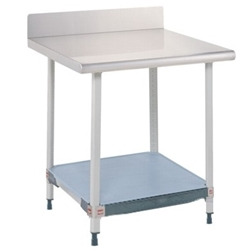 MetroMax I Stationary Lab Table With Stainless Top, Back Splash And Lower Solid Polymer Shelf