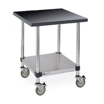 Mobile Black Phenolic Top Table With Stainless Lower Shelf