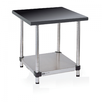 Stationary Stainless Lab Table With Black Phenolic Top and Lower Solid Shelf