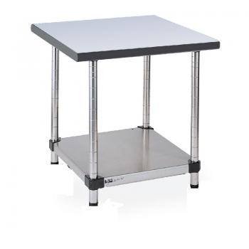 Stationary Stainless Lab Table With Gray Phenolic Top And Lower Solid Shelf