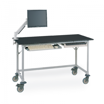 MetroMax I Mobile Lab Table With Black Phenolic Top And U Frame