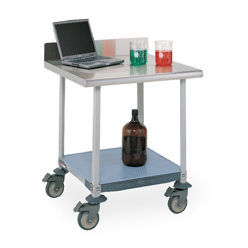 MetroMax I Mobile Lab Table With Stainless Top, Back Splash And Lower Solid Polymer Shelf