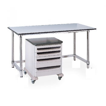 Stationary Stainless Lab Table With Black Phenolic Top And U Frame
