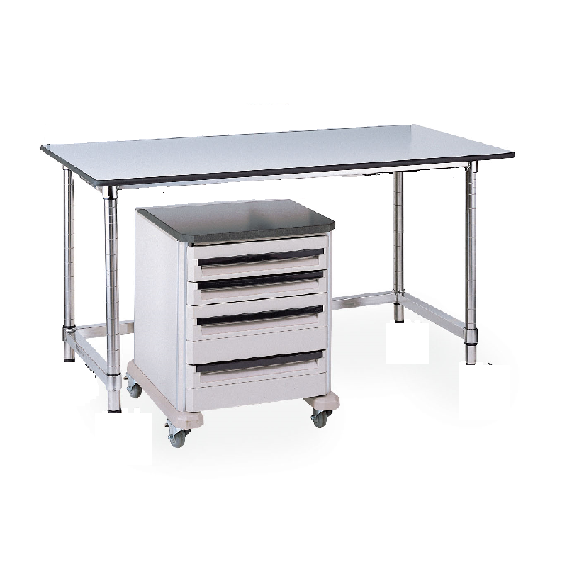 Mobile Gray Phenolic Top Table With U Frame