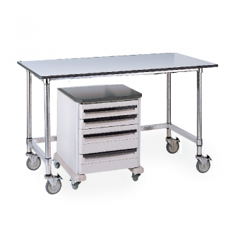 Mobile Black Phenolic Top Table With U Frame