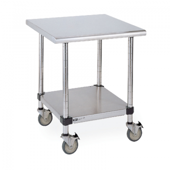 HD Super Mobile Table With Solid Lower Shelf (Stainless Steel)